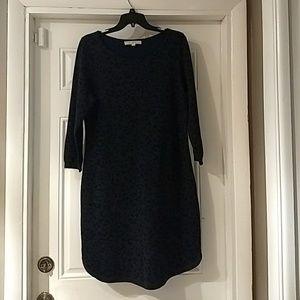 Loft Gray & Blue Leopard Print Sweater Dress